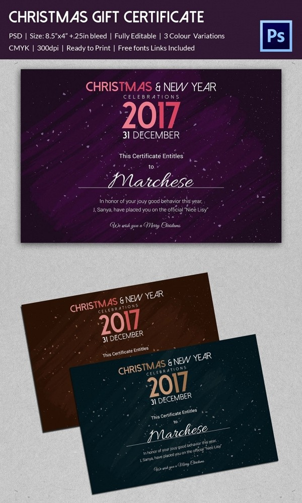 Free Gift Card Template Download New Christmas Gift Certificate Templates 21 Psd format