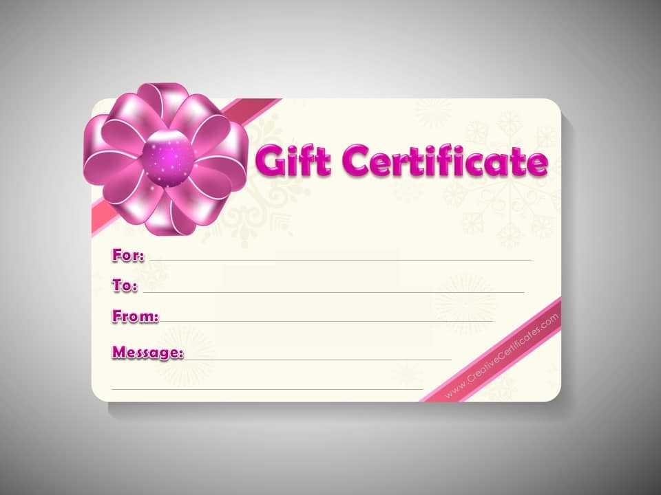 Free Gift Card Template Word Awesome Free Gift Certificate Template
