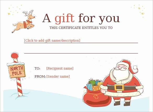 Free Gift Card Template Word Inspirational Christmas Gift Certificate Template 11 Word Pdf