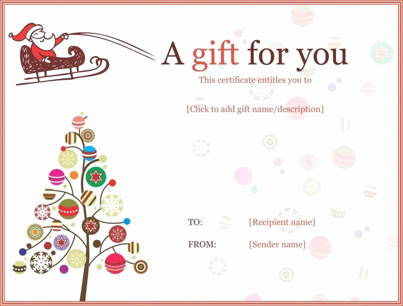 Free Gift Card Template Word Lovely Christmas Gift Certificate Templates Printable