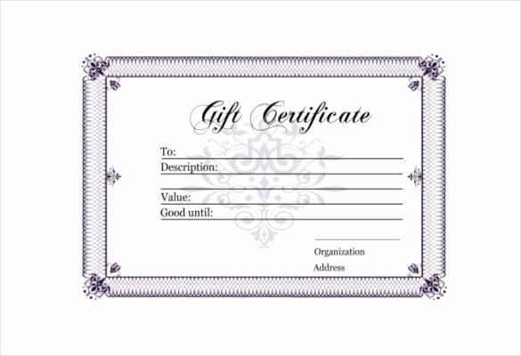 Free Gift Certificate Template Pdf Lovely 30 Blank Gift Certificate Templates Doc Pdf