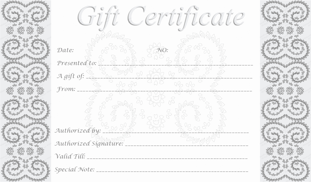 Free Gift Certificates to Print Beautiful Editable and Printable Silver Swirls Gift Certificate Template