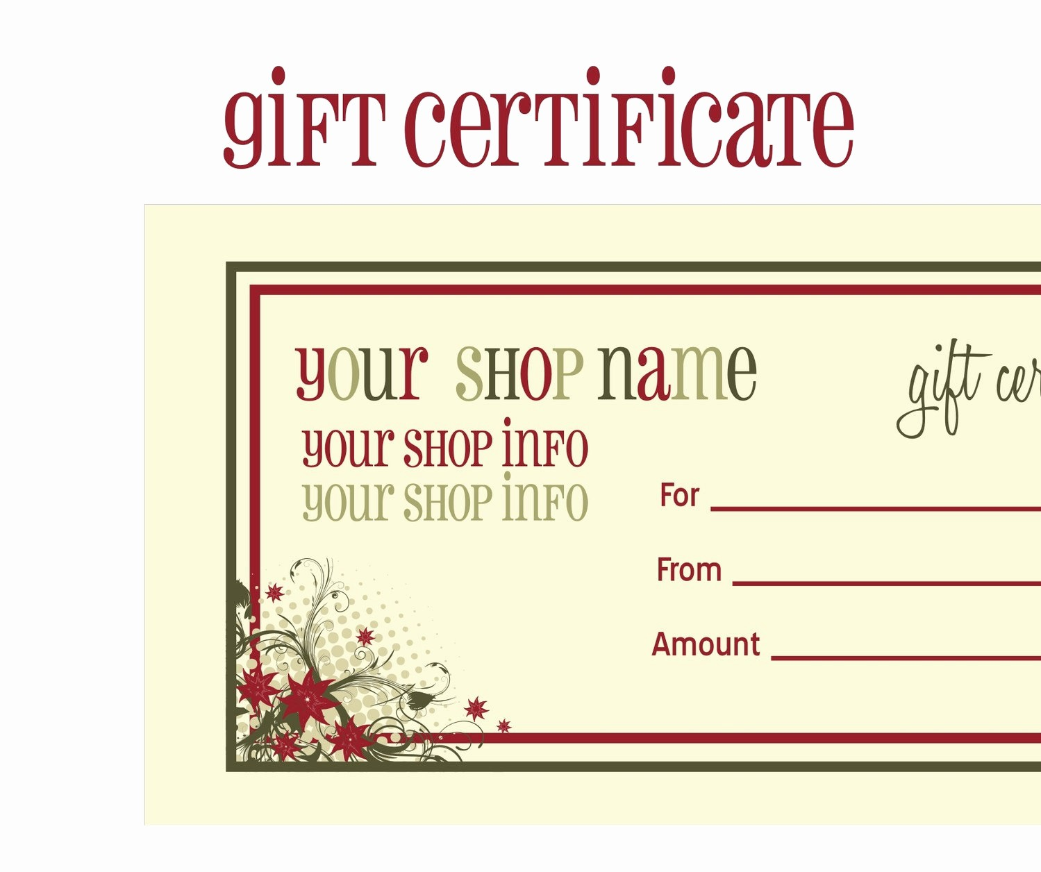 Free Gift Certificates to Print Beautiful Printable Gift Certificates
