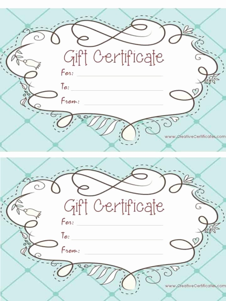 Free Gift Certificates to Print Fresh Free Gift Certificate Template