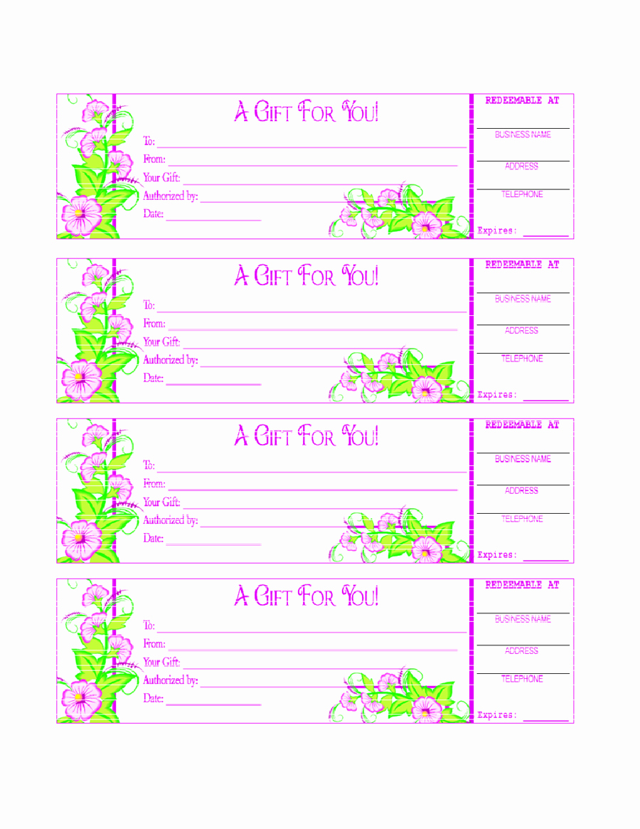 Free Gift Certificates to Print Inspirational 2018 Gift Certificate form Fillable Printable Pdf