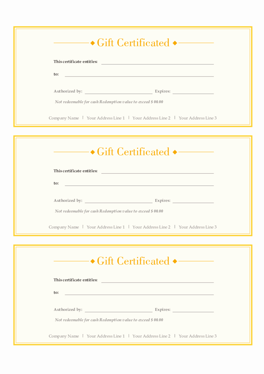 Free Gift Certificates to Print Lovely 2018 Gift Certificate form Fillable Printable Pdf