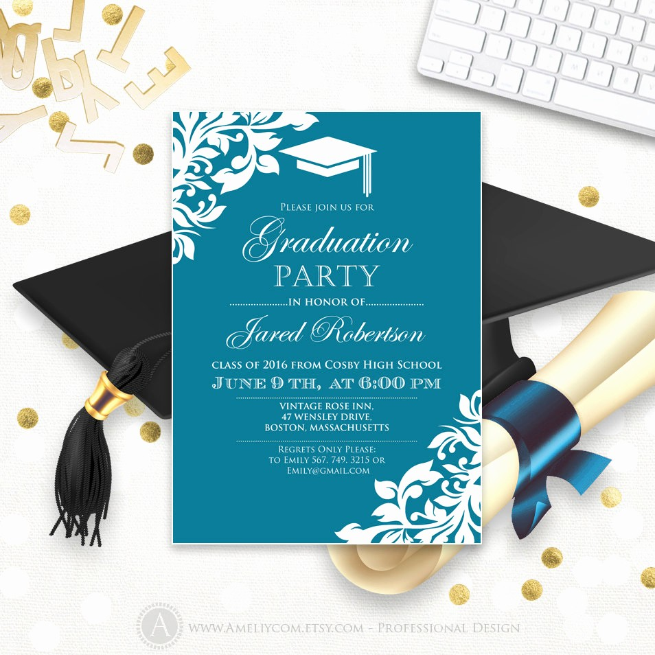 Free Graduation Party Invitation Templates Elegant Printable Graduation Party Invitation Template Blue Teal High