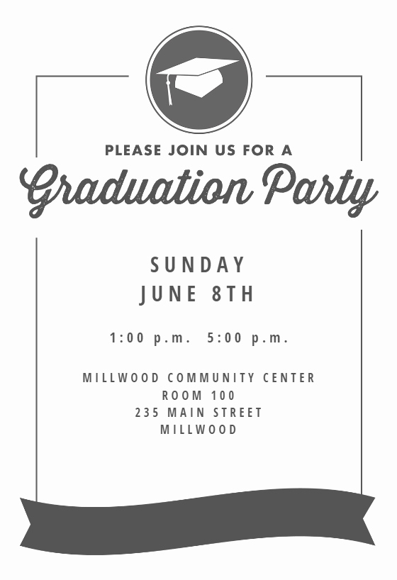 Free Graduation Party Invitation Templates Elegant Ribbon Graduation Free Graduation Party Invitation