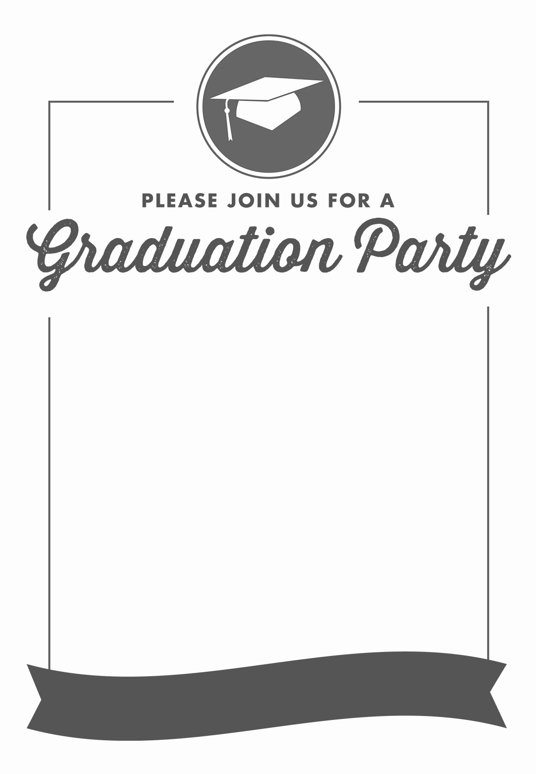 Free Graduation Party Invitations Templates Elegant Ribbon Graduation Free Printable Graduation Party