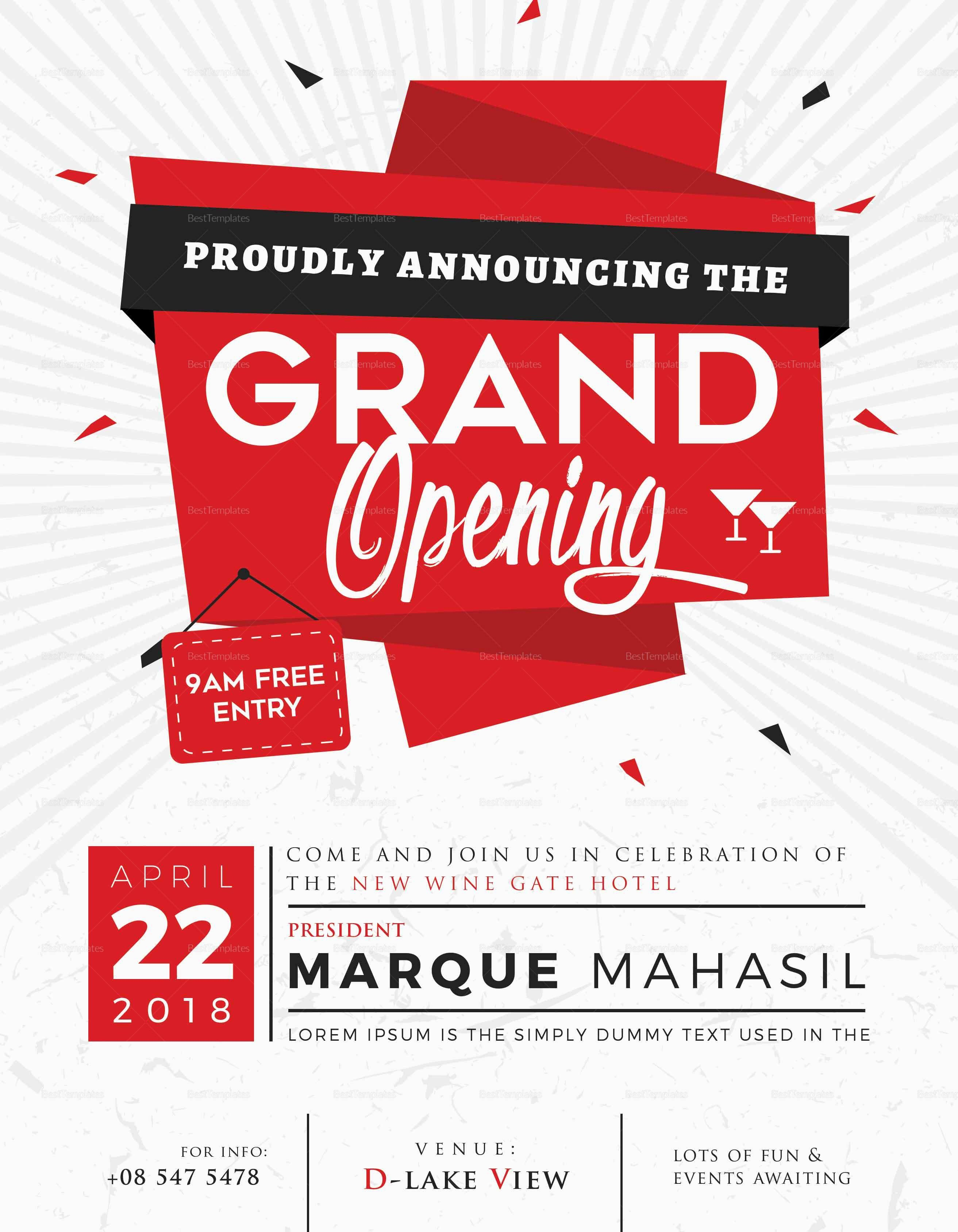 Free Grand Opening Flyer Template Fresh Grand Opening Flyer Design Template In Word Psd