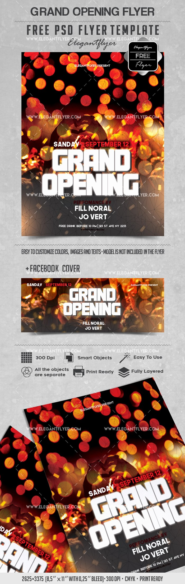 Free Grand Opening Flyer Template Lovely Party for Grand Opening Lights Template – by Elegantflyer