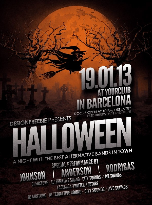 Free Halloween Party Flyer Templates Awesome 10 Free Psd Halloween Party Flyer Designs