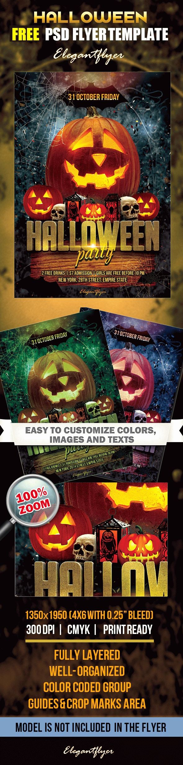 Free Halloween Party Flyer Templates Best Of Halloween Party – Free Flyer Psd Template – by Elegantflyer