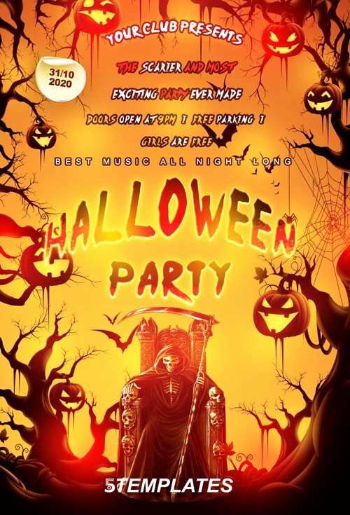 Free Halloween Party Flyer Templates New Download the Free Halloween Party Flyer Psd Template for