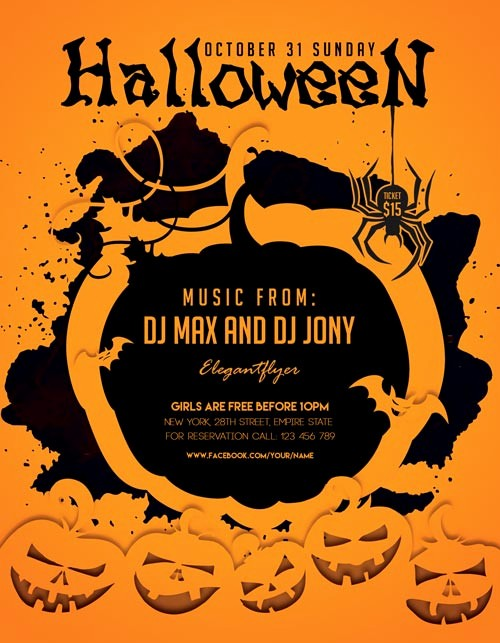 Free Halloween Party Flyer Templates Unique Halloween Party Freebie Flyer Template Download for