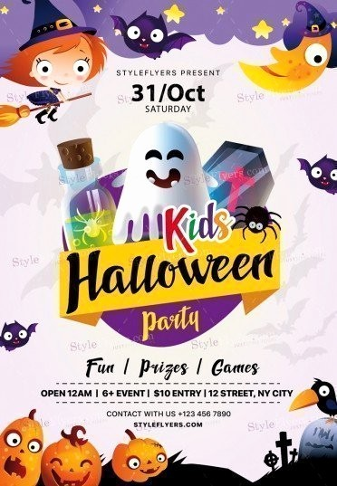Free Halloween Party Flyer Templates Unique Kids Halloween Party Psd Flyer Template Styleflyers