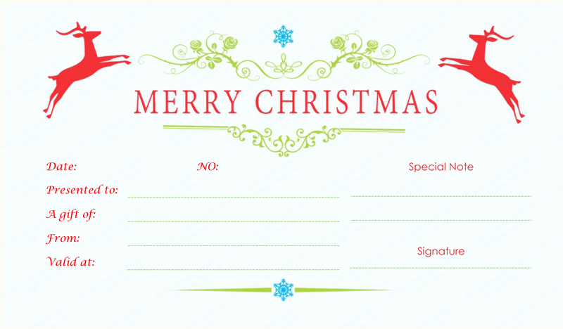 Free Holiday Gift Certificate Template Awesome Double Reindeer Christmas Gift Certificate Template