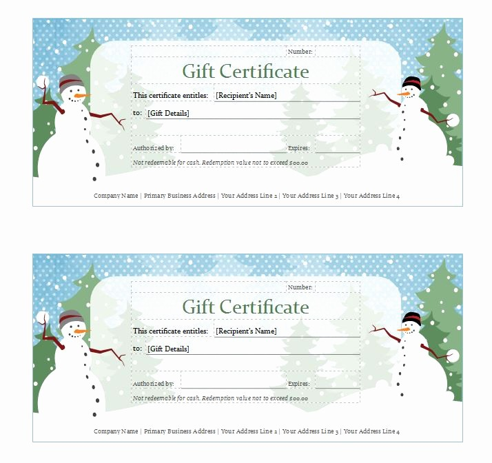 Free Holiday Gift Certificate Template Awesome Holiday Gift Certificate Template