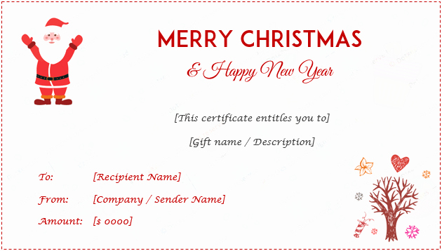 Free Holiday Gift Certificate Template Beautiful 24 Christmas & New Year Gift Certificate Templates