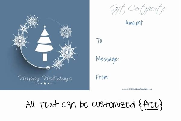 Free Holiday Gift Certificate Template Inspirational Christmas Gift Certificate Templates