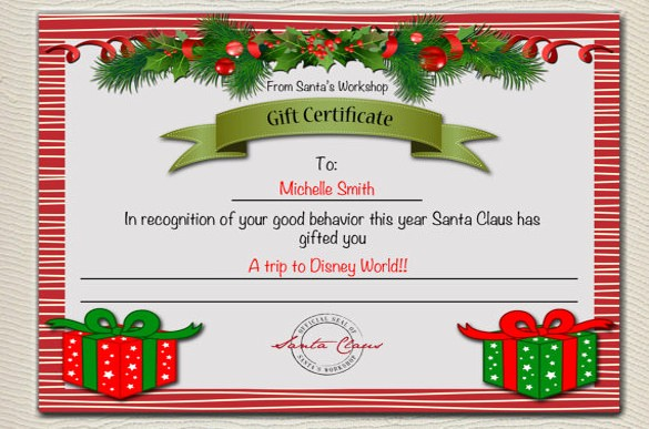 Free Holiday Gift Certificate Template Luxury 20 Christmas Gift Certificate Templates Word Pdf Psd