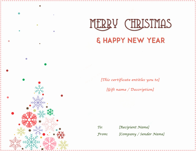 Free Holiday Gift Certificate Template New Christmas Gift Certificate Templates Editable and