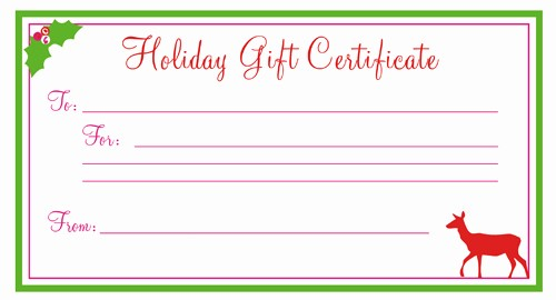 Free Holiday Gift Certificate Template New Holiday Gift Certificate Template Free Printablekitty Baby