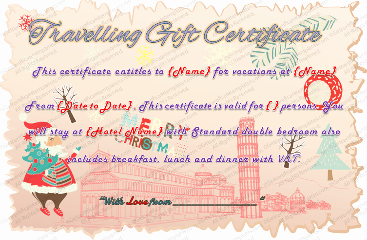 Free Holiday Gift Certificate Template New Holiday Travel Gift Certificate Template