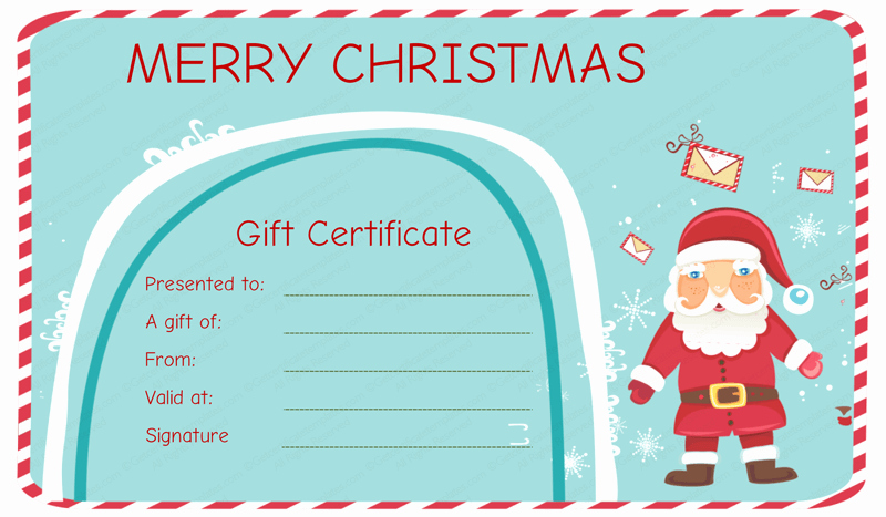 Free Holiday Gift Certificate Template New Santa Messages Christmas Gift Certificate Template