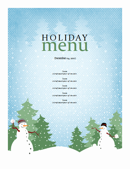 Free Holiday Templates for Word Luxury Christmas Menu Templates Free Word