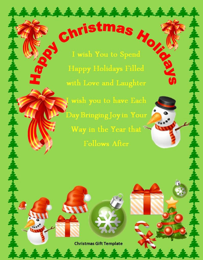 Free Holiday Templates for Word Luxury Free Christmas Gift Template