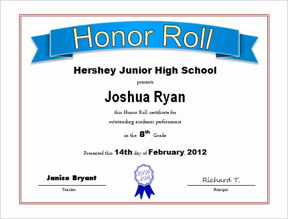 Free Honor Roll Certificate Template Best Of 8 Printable Honor Roll Certificate Templates & Samples