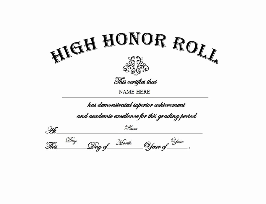 Free Honor Roll Certificate Template Inspirational High Honor Roll Free Templates Clip Art & Wording