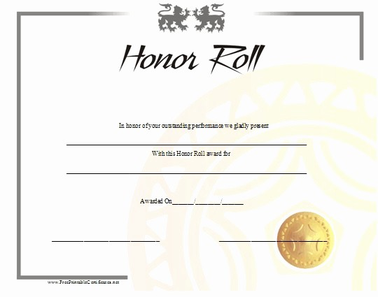 Free Honor Roll Certificate Template Lovely 40 Printable Free Certificate Templates Mashtrelo