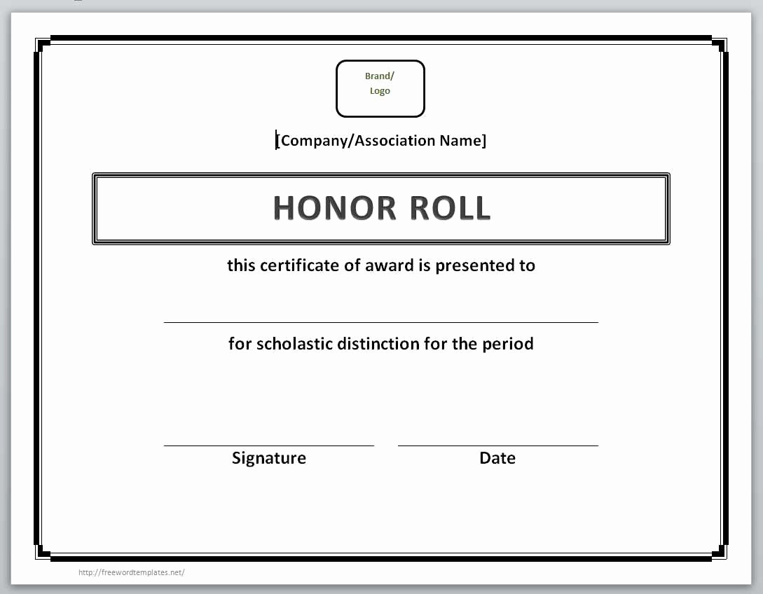 Free Honor Roll Certificate Template New 13 Free Certificate Templates for Word