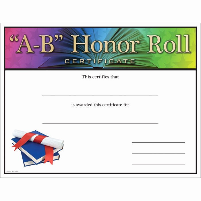 Free Honor Roll Certificate Template New A B Honor Roll Certificate Jones School Supply