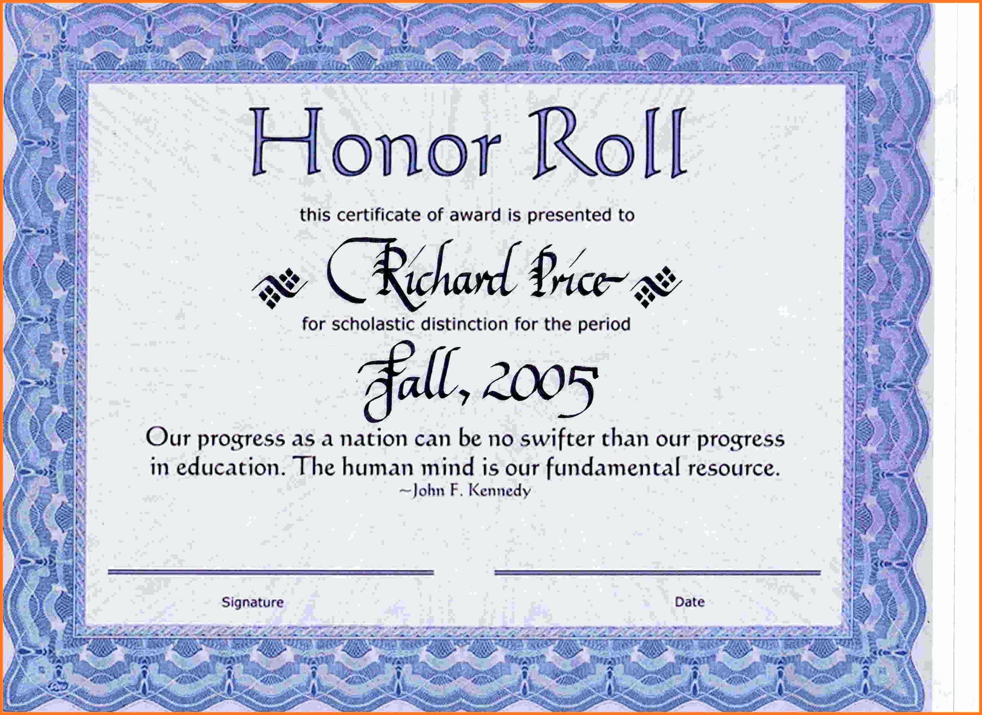 Free Honor Roll Certificate Template New Template Honor Roll Certificate Template
