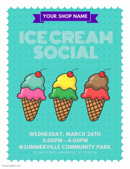 Free Ice Cream social Template Awesome Ice Cream social Flyer Template