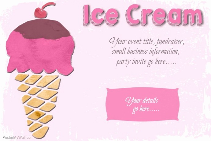 Free Ice Cream social Template Awesome Ice Cream social Party Sweets Poster Flyer Template Pink