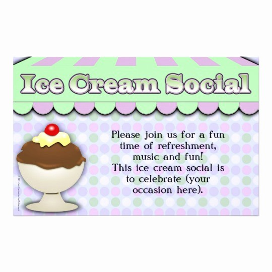 Free Ice Cream social Template Beautiful Ice Cream social Purple Green Stripe Sundae Flyer