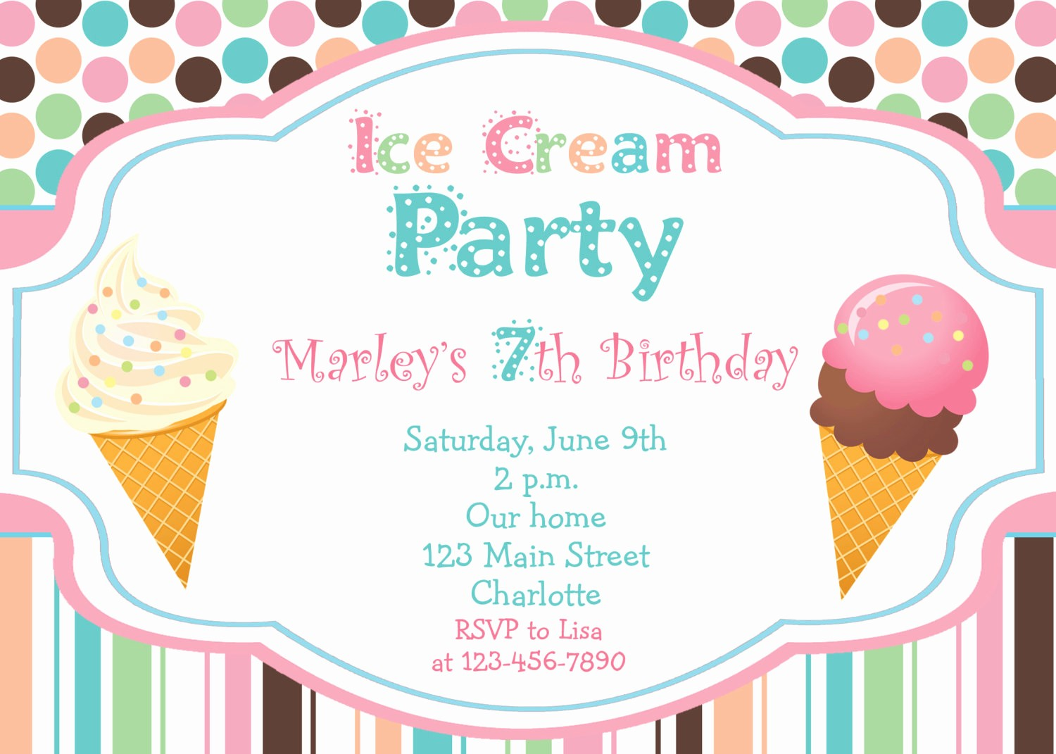Free Ice Cream social Template Inspirational Ice Cream Party Birthday Invitation Ice by thebutterflypress