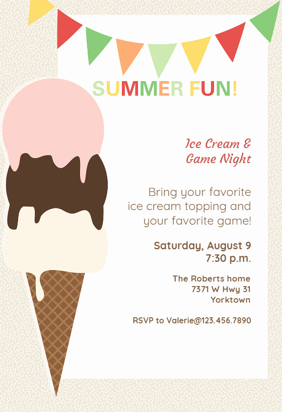 Free Ice Cream social Template Lovely Ice Cream Pool Party Invitation Template Free