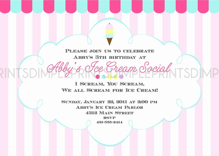 Free Ice Cream social Template Luxury Ice Cream social Printable Party Invitation Dimple