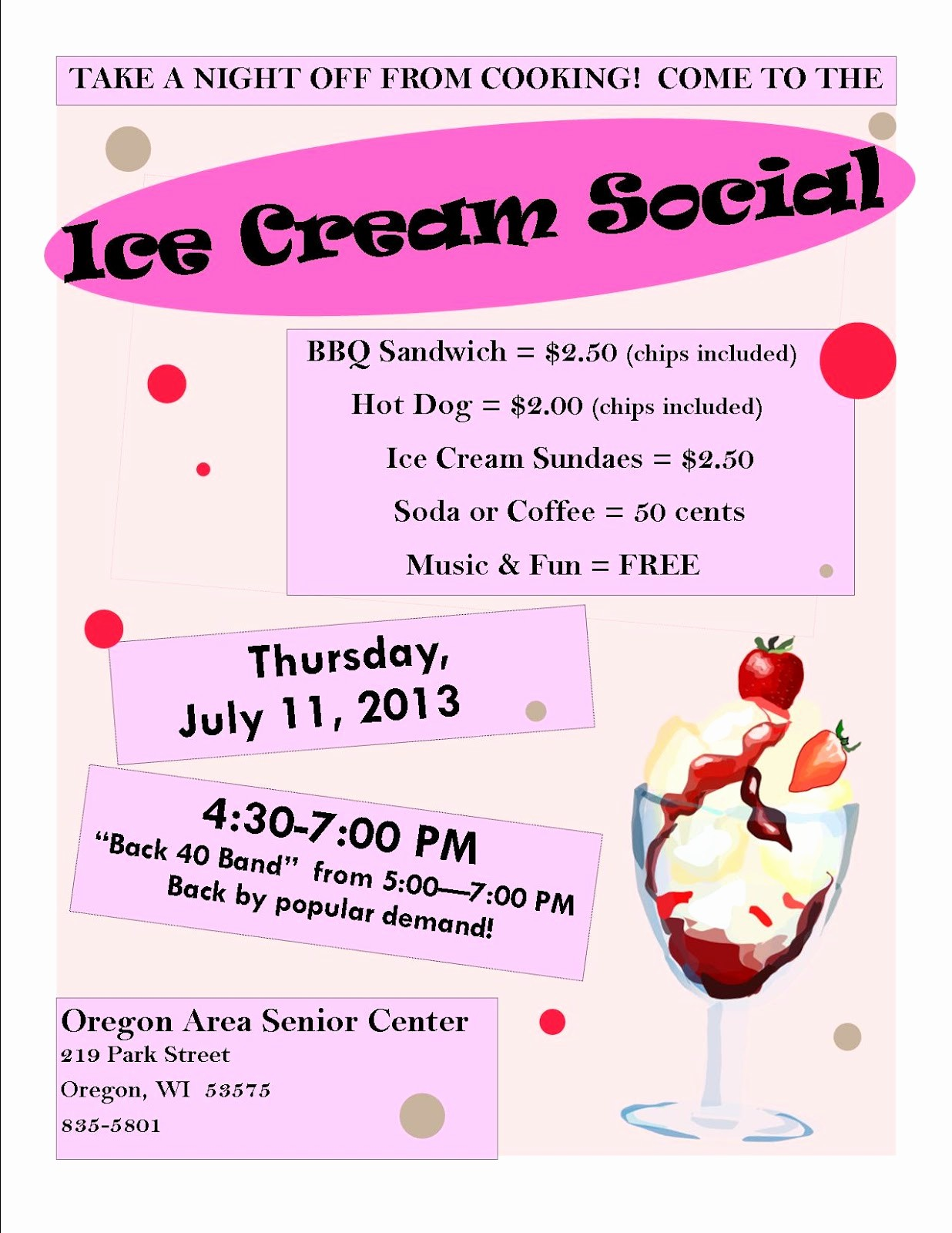 Free Ice Cream social Template Luxury oregon area Senior Center Council On Aging 07 01 2013