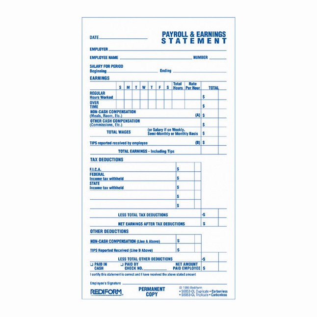 Free Individual Payroll Record form Inspirational Rediform 2 Parts Carbonless Individual Time and Payroll