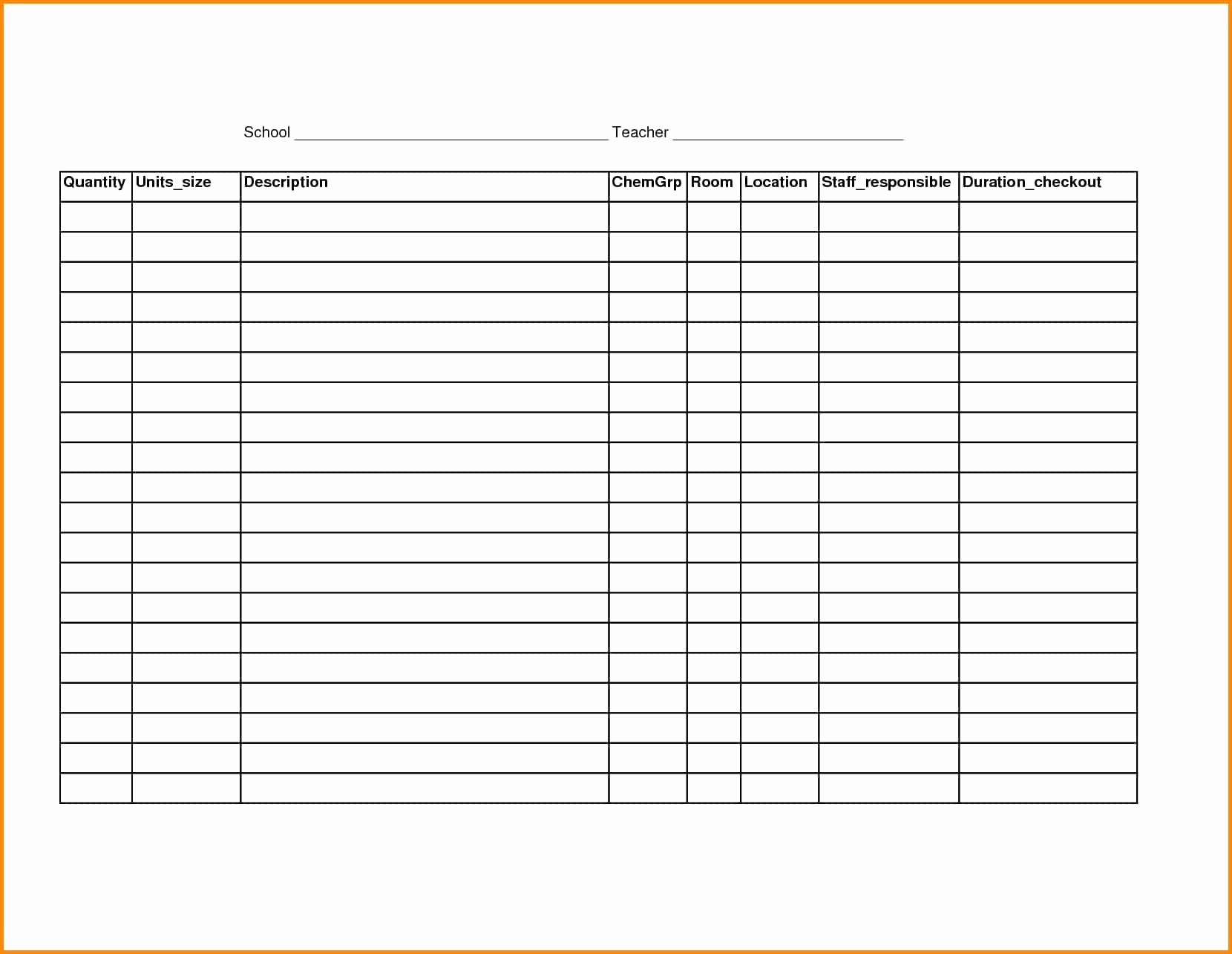 Free Inventory Sheets to Print Awesome Free Printable Spreadsheet Samplebusinessresume