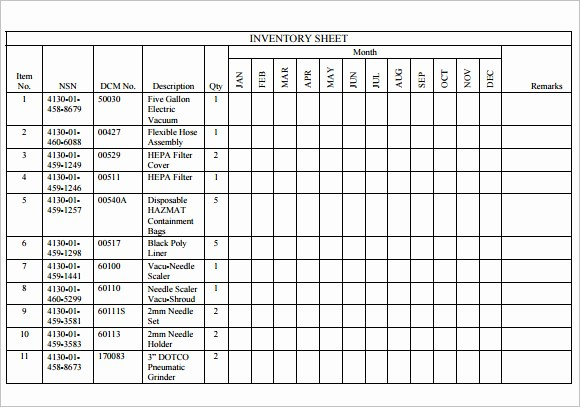 Free Inventory Sheets to Print Fresh 8 Sample Inventory Sheets