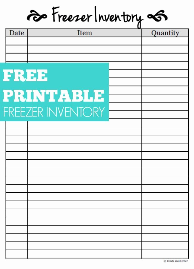 Free Inventory Sheets to Print Lovely Free Printable Freezer Inventory Sheet