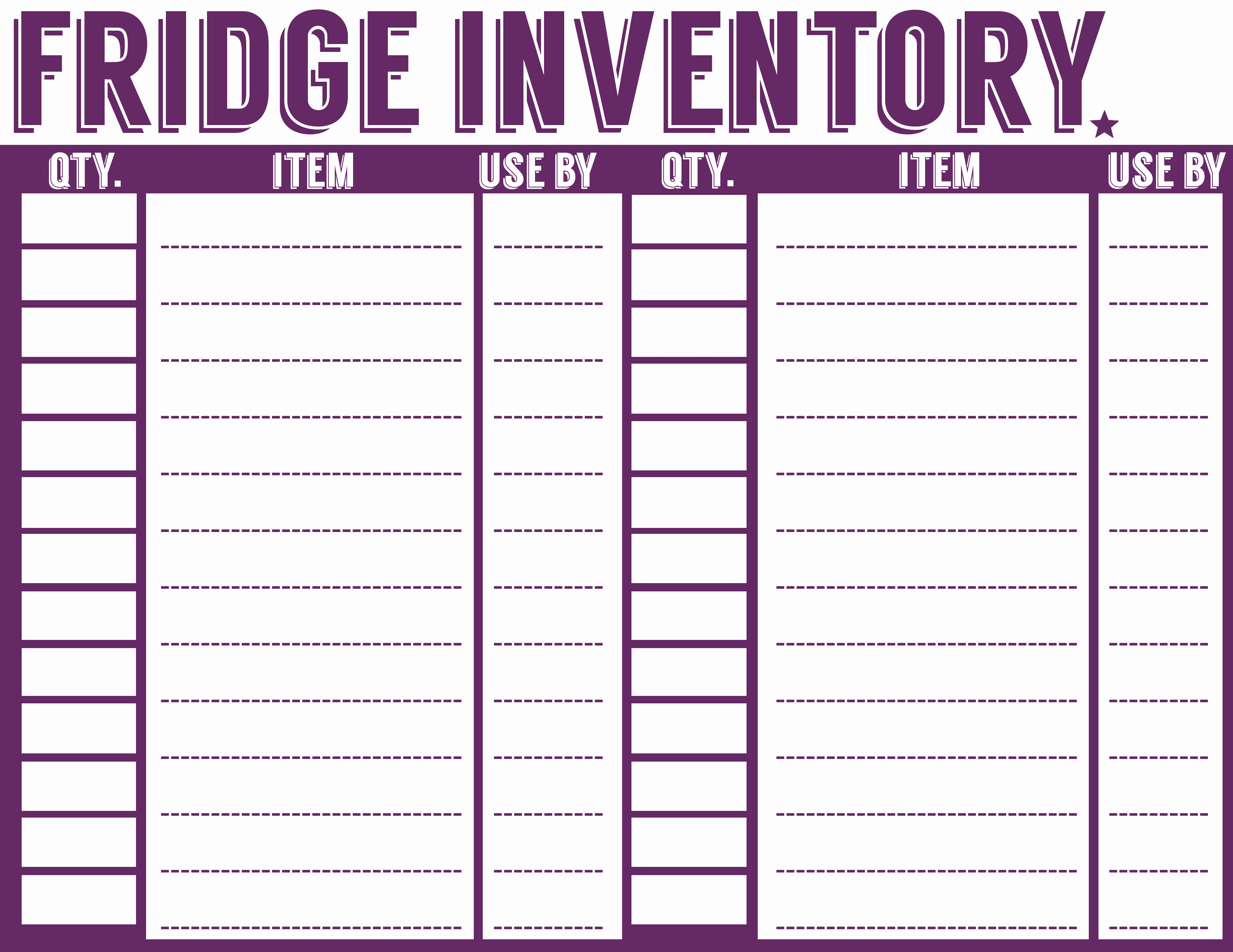 Free Inventory Sheets to Print Luxury 7 Best Of Refrigerator Inventory Printable