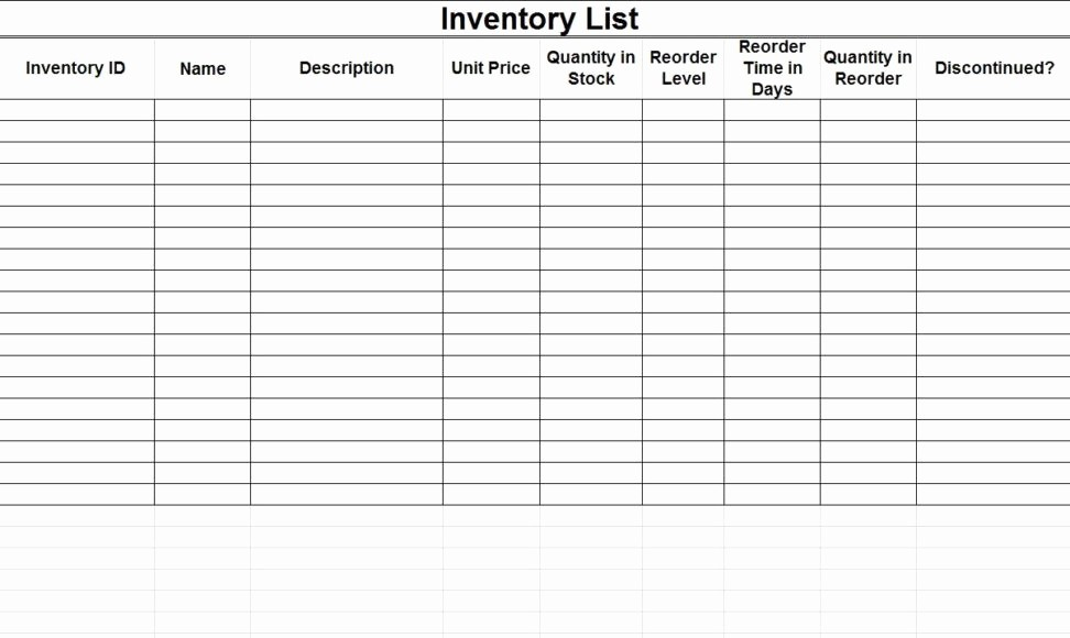 Free Inventory Sheets to Print New Free Printable Inventory Sheets Spreadsheet Templates